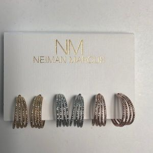 Neiman Marcus 3 pairs gold,silver,copper earrings